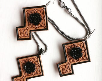 Tooled Leather Earrings and Necklace Set
