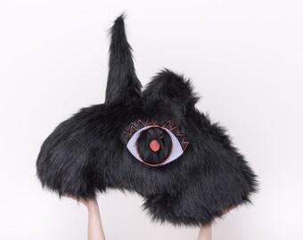 KÁRL - The Black Fluffy Unicorn / Orange and lilac eye