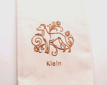 Whippet Embroidered Kitchen Towel | Dog Lovers Gift | Embroidered Tea Towel | Personalized Kitchen Towel | Hand Towel | Embroidered Towel