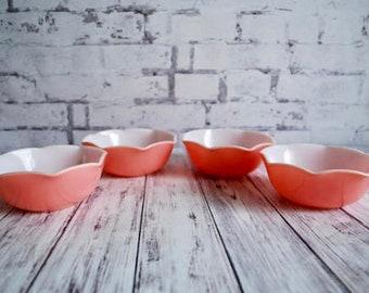 Hazel Atlas Pink Crinoline Ruffle Ripple Bowls, Set of Four, Vintage Pink Dishes, Pink and White Ruffle Bowls 1940 Pink Kitchen Bowls Dishes