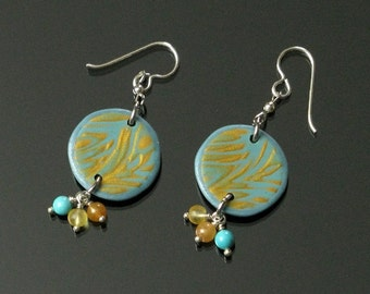 Aqua & Gold Mokume Gane Earrings, Unique Boho Dangle, Boho Earrings, Polymer Clay Earrings, Boho Jewelry Shop, Unique Gift for Women, Mom