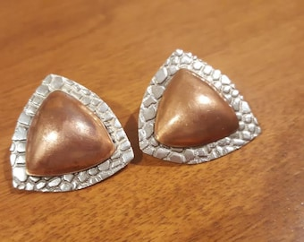 Sterling & Copper Textured Triangle Earrings