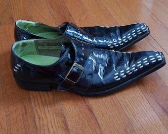 Vintage Blue Leather Pimp Shoes Point Toe Size 11