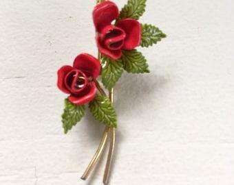 Little Vintage Enamel Red Roses Retro Pin Brooch