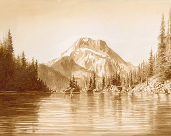 beer art, Sparks Lake and South Sister Mountain, Oregon, painted using only beer (and coffee too), lake, mountains, canoe, kayak, coffee