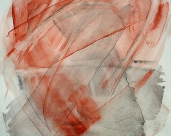 """Original abstract painting, large watercolor. 15.6""""x19.8"""" Red and Grey Gestural artwork. Transparent layers. Fine art Living room decor"""