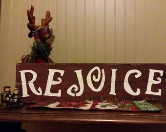 Rejoice reclaimed wood sign