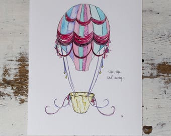 Hot Air Balloon//Hot Air Balloon Nursery//8x10 print//Nursery Art//Watercolour Hot Air Balloon//Little Girls Room Art//Up Up and Away