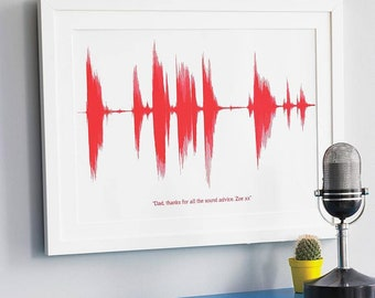 Personalised Gift SOUND WAVE PRINT Voice Song Heart Beat New Mother Baby Wall Art Mothers Day Gift for Mum Science Music Unframed *Small A4*