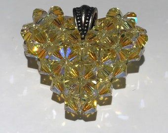 Beaded Swarovski Heart Pendant - Light Yellow AB