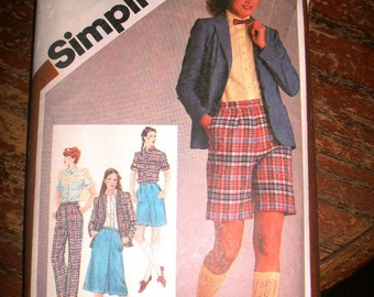 Simplicity 9837 Printed Pattern ~ Size 16  ~ 1980 Misses' Shirt, Skirt, Pants or Shorts and Unlined Jacket