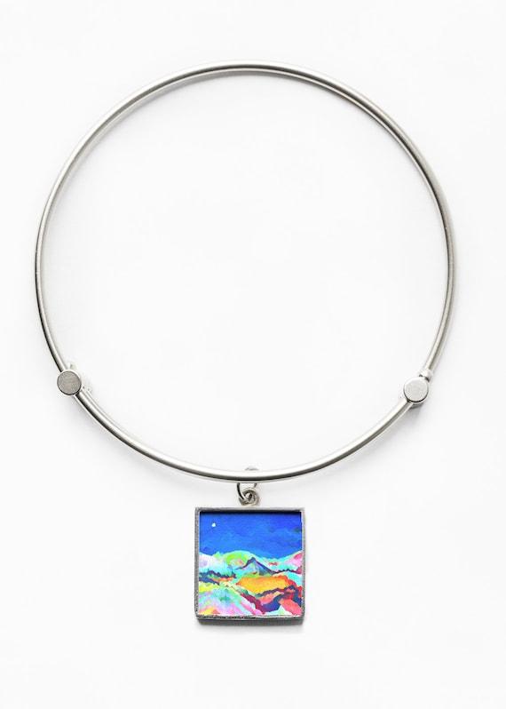 Mountain Living  Bangle Bracelet Original Art on Metal Boho Hippie Jewelry Made in USA