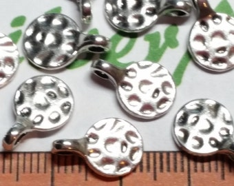 24 pcs per pack 8mm Blank Hammered Coin Tag Charms Antique Silver Finish Lead Free Pewter