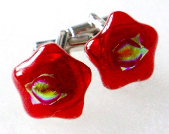 Red Star Cufflinks - Fused Glass Layers on Silver Tone Fittings - Gift Boxed