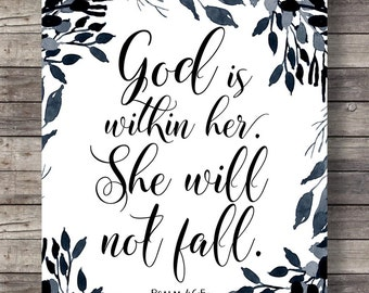 Psalms watercolor scripture print god is within her she will