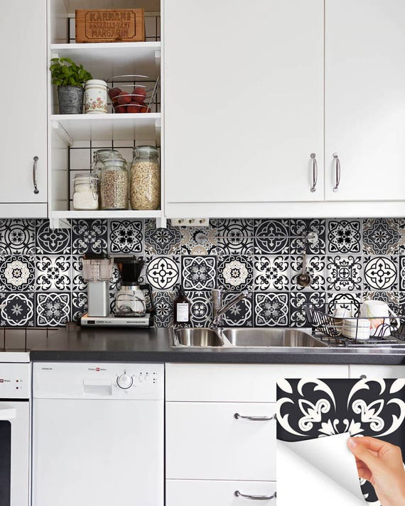 Schwarz / weiße Fliesen Aufkleber Fliesen Aufkleber Küche
