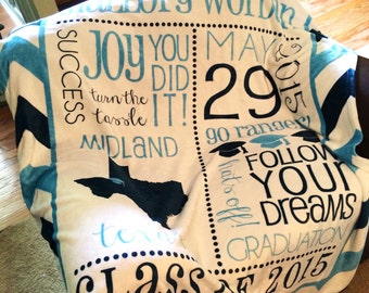 Personalized Graduation Blanket - Subway Art