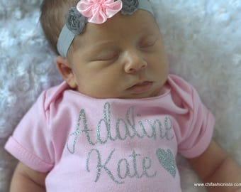 Birth Announcement Shirt/ Custom Name shirt/ Monogram Shirt/ Newborn Shirt/ Personalized Shirt/ Baby Shower Gift/ Pink Baby Gift/ Girl Baby