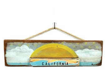Personalize This Original Art Item-California Beach Sunrise Sunset Art Handmade Reclaimed Wood Beach Home Goods Coastal Wall Art Mangoseed