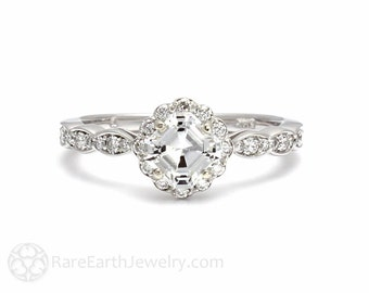 Platinum Asscher Diamond Engagement Ring Diamond Halo Ring Custom Bridal Jewelry