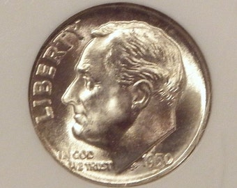 1950D Roosevelt Dime NGC MS66