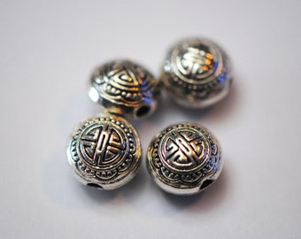 9mm Beads | Tibetan Silver Beads | Round Silver Beads | Puff Circle Beads | 1.5 mm hole | Longevity Beads | Chinese Beads | Chinoiserie Bead