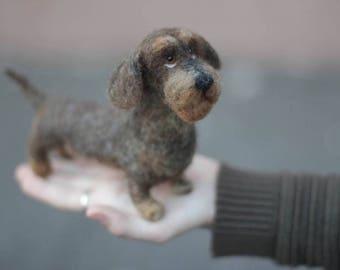 Needle Felted Wirehaired Dachshund, Dackel, Teckel, Custom Made Dog Portrait