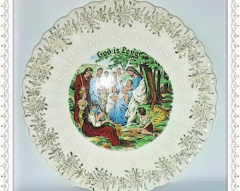 "9"" Plate God is Love - Jesus & Children First Edition Warranted Vintage Porcelain - 23 K Gold Trim - Sanders Mfr Co. Made in USA"