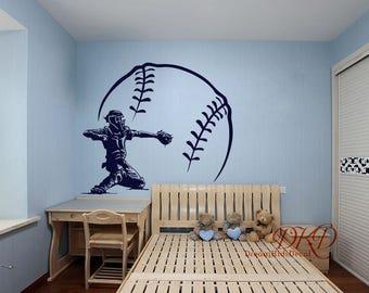 Baseball Decal, Baseball Wall Decal, Vinyl Decal Baseball Wall Art Kids  Teens Boys Room