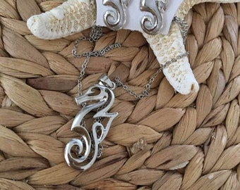 Seahorse Pendent Necklace and Earring Set,Coastal,Sealife,Jewelry