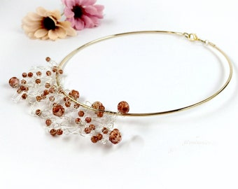 Beaded boho bridal wedding gold choker with czech marbled beads. Bohemian wedding. Artisan necklace.