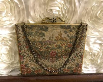 Vintage Coin Purse Pouch Change Purse Wallet Tapestry Clutch with Chain