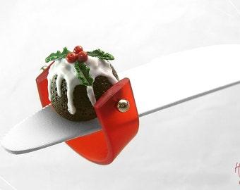 Food Jewelry Christmas Ring Pudding, Fruit Cake Ring, Mistletoe Dessert Ring, Miniature, Kawaii Jewelry Christmas, Polymer Clay Ring