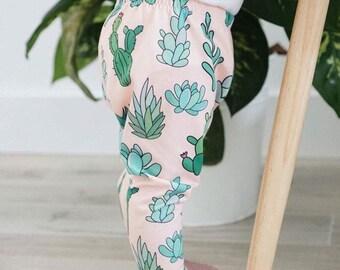Handmade Baby Leggings - Succulent Leggings - Succulent Baby Leggings - Girl Leggings - Boy Leggings - Succulents - Plant Lover - Plant Gift