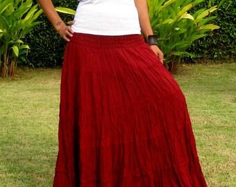 Plus Size * Extra Long Maxi Skirt * Long Skirts For Women * Pleated Skirt * Crinkle Skirt * Boho Skirt * Hippie Skirt * bordeaux * XS – XXL
