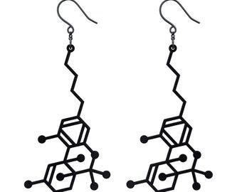 THC Molecule Earrings - Black