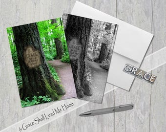 And Grace Shall Lead Me Home,  Digital Tree Carving, Greeting Card, Forest Path, Classic Hymn, Amazing Grace, Inspiration, Blk & Wh OR Color
