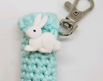 Mint Green Lip Balm Holder - Bunny Chapstick Case - Lip Balm Cozy Keyring - Bunny Rabbit - Gifts for Her - Party Favor - Stocking Stuffer