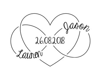 "Infinity Heart Custom Stamp, names and date stamp, save the date stamp, wedding stationery stamp, favours stamp, 3""x2"" (cstd90)"