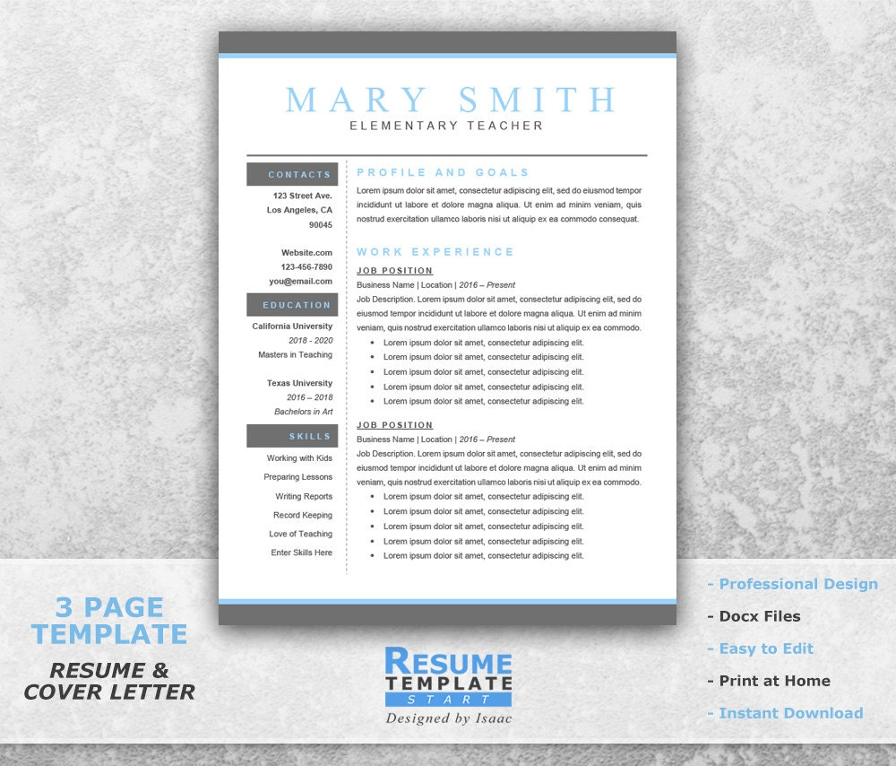Teacher Resume Template Word Professional Resume Template
