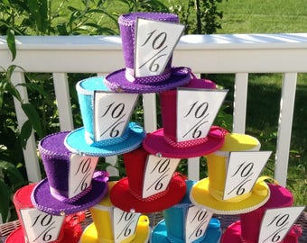 "Set of 10 Felt Hats - Alice in Wonderland Decorations, Mad Hatter Tea Party, Birthday, Baby, Bridal Shower, Quinceanera (3.5"" Tall)"