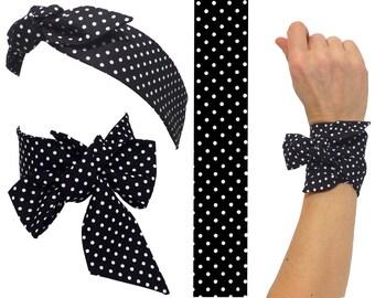 Black skinny scarf white polka dots, TWILLY Cotton Scarf + Headband + Bracelet wrap wrist hat band bag, neck bow hair tie black neckerchief