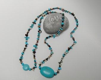 "Turquoise and Quartz Necklace 46"""
