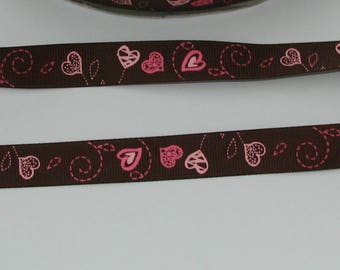1 meter Ribbon satin grosgrain 16mm Brown with pink/Fuchsia heart