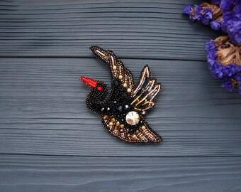 Stork Brooch Pin Bird Brooch Bird jewelry Bird Pin Beaded Bird Embroidery brooch Bird accessories Animal Jewelry Flying bird Bird lover