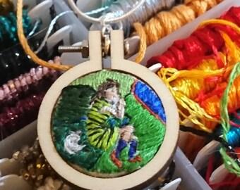 Kirchner inspired hand embroidered pendant