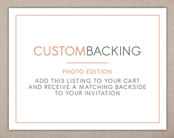 INVITATION BACKING (1 Photo) - Custom Add-on