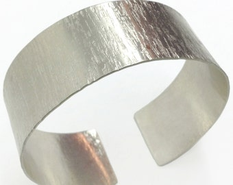Hand Hammered Silver Cuff Handcrafted Wide Band Metalwork Minimal Open Βangle Adjustable Handmade Greek Jewelry Unisex For Her For Him