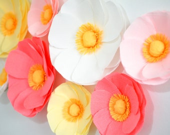 9 Large Paper Flowers/Large Paper Poppies/Wedding Decoration/Arch Flowers/ Table Flower Decoration/Pink Poppies/ Wall Flowers