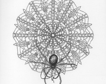 Spider Weaving a Doily Web - Art Print - Pen and Ink Illustration - SALE